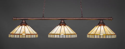 "Oxford 3 Light Bar In Bronze Finish With 15"" Honey & Brown Mission Tiffany Glass - lights"
