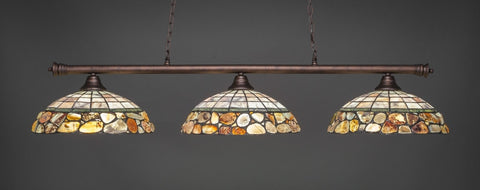 "Oxford 3 Light Bar In Bronze Finish With 16"" Cobblestone Tiffany Glass - lights"