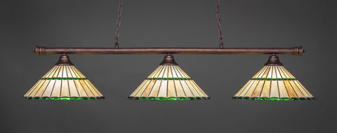 "Oxford 3 Light Bar In Bronze Finish With 15.5"" Honey Glass & Green Jewels Tiffany Glass (373-BRZ-977) - lights"