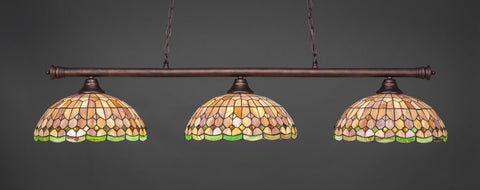 "Oxford 3 Light Bar In Bronze Finish With 15"" Rosetta Tiffany Glass - lights"