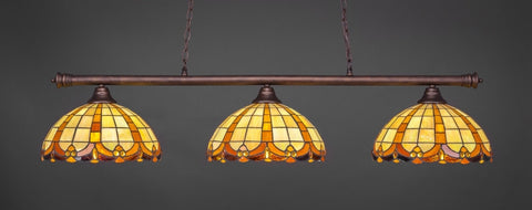 "Oxford 3 Light Bar In Bronze Finish With 14.5"" Butterscotch Tiffany Glass - lights"