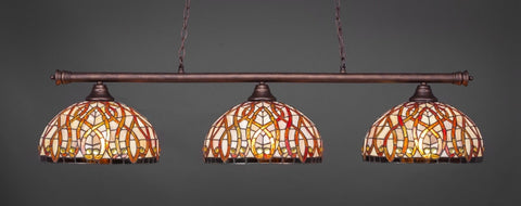 "Oxford 3 Light Bar In Bronze Finish With 15"" Persian Nites Tiffany Glass - lights"
