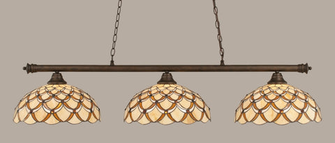 "Oxford 3 Light Bar In Bronze Finish With 16"" Honey & Brown Scallop Tiffany Glass (373-BRZ-993) - lights"