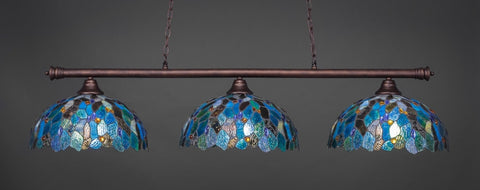 "Oxford 3 Light Bar In Bronze Finish With 16"" Blue Mosaic Tiffany Glass (373-BRZ-995) - lights"
