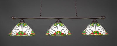 "Oxford 3 Light Bar In Dark Granite Finish With 15"" Green Sunray Tiffany Glass (373-DG-937) - lights"