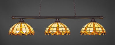 "Oxford 3 Light Bar In Dark Granite Finish With 14.5"" Butterscotch Tiffany Glass (373-DG-989) - lights"