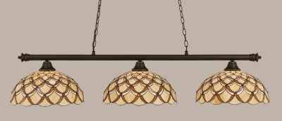 "Oxford 3 Light Bar In Dark Granite Finish With 16"" Honey & Brown Scallop Tiffany Glass (373-DG-993) - lights"