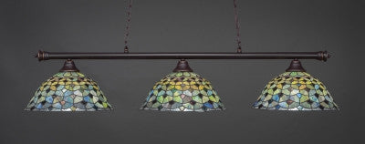 "Oxford 3 Light Bar In Dark Granite Finish With 16"" Crescent Tiffany Glass (373-DG-996) - lights"