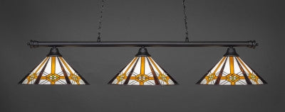 "Oxford 3 Light Bar In Matte Black Finish With 16"" Hampton Tiffany Glass (373-MB-961) - lights"
