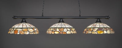"Oxford 3 Light Bar In Matte Black Finish With 16"" Cobblestone Tiffany Glass (373-MB-973) - lights"