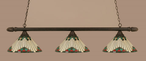 "Round 3 Light Bar In Dark Granite Finish With 15"" Green Sunray Tiffany Glass - lights"