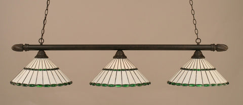 "Round 3 Light Bar In Dark Granite Finish With 15.5"" Honey Glass & Green Jewels Tiffany Glass (383-DG-977) - lights"