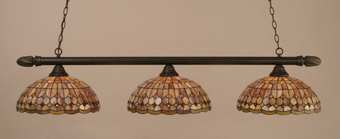 "Round 3 Light Bar In Dark Granite Finish With 15"" Rosetta Tiffany Glass - lights"