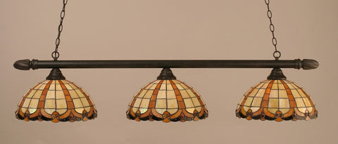 "Round 3 Light Bar In Dark Granite Finish With 14.5"" Butterscotch Tiffany Glass (383-DG-989) - lights"