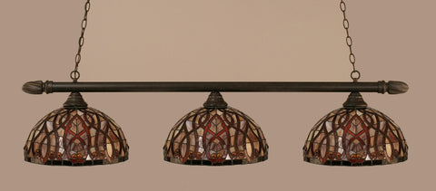 "Round 3 Light Bar In Dark Granite Finish With 15"" Persian Nites Tiffany Glass - lights"