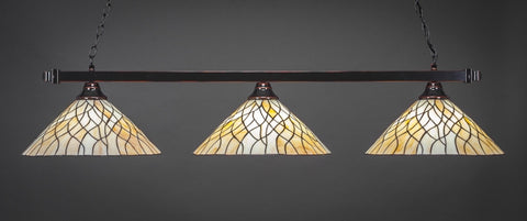 "Square 3 Light Bar In Black Copper Finish With 16"" Sandhill Tiffany Glass (803-BC-911) - lights"