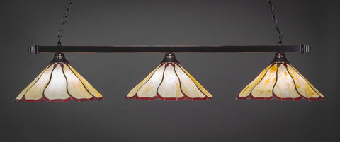 "Square 3 Light Bar In Black Copper Finish With 16"" Honey & Burgundy Flair Tiffany Glass (803-BC-916) - lights"
