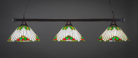 "Square 3 Light Bar In Black Copper Finish With 15"" Green Sunray Tiffany Glass - lights"