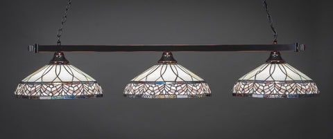 "Square 3 Light Bar In Black Copper Finish With 16"" Royal Merlot Tiffany Glass - lights"
