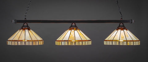 "Square 3 Light Bar In Black Copper Finish With 15"" Honey & Brown Mission Tiffany Glass (803-BC-964) - lights"