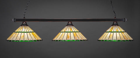 "Square 3 Light Bar In Black Copper Finish With 15.5"" Honey Glass & Green Jewels Tiffany Glass (803-BC-977) - lights"