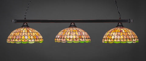"Square 3 Light Bar In Black Copper Finish With 15"" Rosetta Tiffany Glass (803-BC-988) - lights"