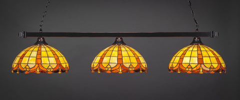 "Square 3 Light Bar In Black Copper Finish With 14.5"" Butterscotch Tiffany Glass (803-BC-989) - lights"