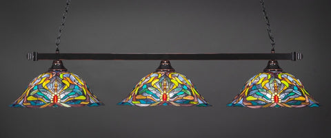 "Square 3 Light Bar In Black Copper Finish With 19"" Kaleidoscope Tiffany Glass (803-BC-990) - lights"