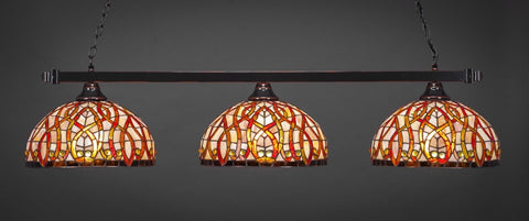 "Square 3 Light Bar In Black Copper Finish With 15"" Persian Nite Tiffany Glass - lights"