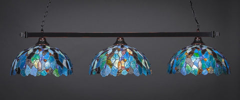 "Square 3 Light Bar In Black Copper Finish With 16"" Blue Mosaic Tiffany Glass (803-BC-995) - lights"