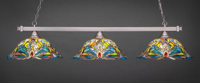 "Square 3 Light Bar In Brushed Nickel Finish With 19"" Kaleidoscope Tiffany Glass (803-BN-990) - lights"