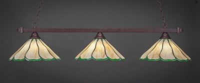 "Square 3 Light Bar In Bronze Finish With 16"" Honey & Hunter Green Flair Tiffany Glass (803-BRZ-913) - lights"