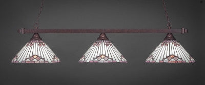 "Square 3 Light Bar In Bronze Finish With 15"" Purple Sunray Tiffany Glass (803-BRZ-938) - lights"