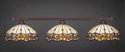 "Square 3 Light Bar In Bronze Finish With 16"" Roman Jewel Tiffany Glass (803-BRZ-997) - lights"