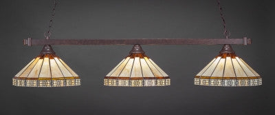"Square 3 Light Bar In Dark Granite Finish With 15"" Honey & Brown Mission Tiffany Glass (803-DG-964) - lights"