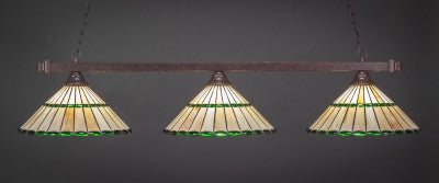 "Square 3 Light Bar In Dark Granite Finish With 15.5"" Honey Glass & Green Jewels Tiffany Glass (803-DG-977) - lights"