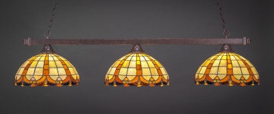 "Square 3 Light Bar In Dark Granite Finish With 14.5"" Butterscotch Tiffany Glass (803-DG-989) - lights"