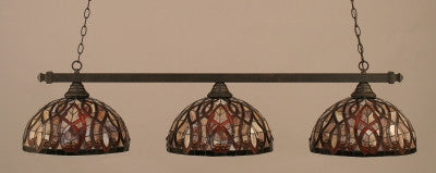 "Square 3 Light Bar In Dark Granite Finish With 15"" Persian Nite Tiffany Glass (803-DG-991) - lights"