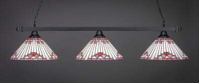 "Square 3 Light Bar In Matte Black Finish With 15"" Purple Sunray Tiffany Glass (803-MB-938) - lights"