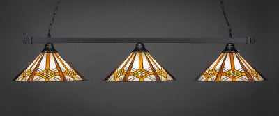 "Square 3 Light Bar In Matte Black Finish With 16"" Hampton Tiffany Glass (803-MB-961) - lights"