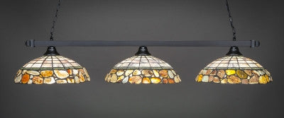 "Square 3 Light Bar In Matte Black Finish With 16"" Cobblestone Tiffany Glass (803-MB-973) - lights"