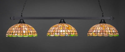 "Square 3 Light Bar In Matte Black Finish With 15"" Rosetta Tiffany Glass (803-MB-988) - lights"