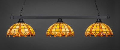 "Square 3 Light Bar In Matte Black Finish With 14.5"" Butterscotch Tiffany Glass (803-MB-989) - lights"