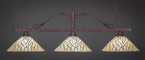 "Scroll 3 Light Bar In Bronze Finish With 16"" Sandhill Tiffany Glass - lights"