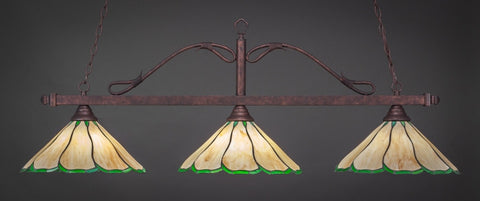 "Scroll 3 Light Bar In Bronze Finish With 16"" Honey & Hunter Green Flair Tiffany Glass (823-BRZ-913) - lights"