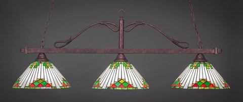 "Scroll 3 Light Bar In Bronze Finish With 15"" Green Sunray Tiffany Glass (823-BRZ-937) - lights"