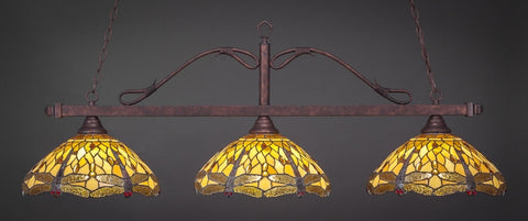 "Scroll 3 Light Bar In Bronze Finish With 16"" Amber Dragonfly Tiffany Glass (823-BRZ-946) - lights"