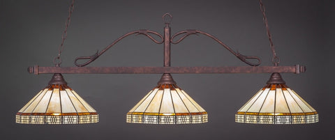 "Scroll 3 Light Bar In Bronze Finish With 15"" Honey & Brown Mission Tiffany Glass (823-BRZ-964) - lights"
