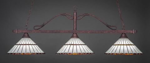 "Scroll 3 Light Bar In Bronze Finish With 15.5"" Honey Glass & Amber Brown Jewels Tiffany Glass (823-BRZ-974) - lights"