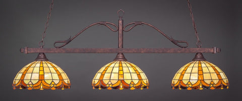 "Scroll 3 Light Bar In Bronze Finish With 14.5"" Butterscotch Tiffany Glass - lights"